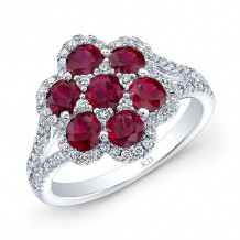 Kattan 18k White Gold High Quality Color Gemstone Floral Engagement Ring - ARF04674