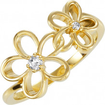 14k Yellow Gold Stuller Diamond Floral Fashion Ring - 122008:60000:P