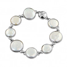 Honora Sterling Silver White Baroque Coin Freshwater Cultured Pearl Bracelet - LB5691WH