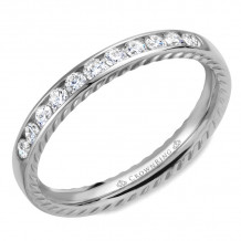 CrownRing 14k White Gold Diamond Rope 3mm Wedding band - WB-018RD3W
