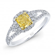 Kattan 18k White Gold La Vie en Yellow Diamond Halo Engagement Ring - LRD08298Y75