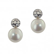 Honora Sterling Silver White Button Freshwater Cultured Pearl Earrings - LE5662WH
