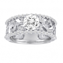 Diadori 18k White Gold Wide Vintage Scroll Diamond Engagement Ring - DFWR2199-RD1.0W
