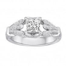 Diadori 18k White Gold Vintage Inspired Diamond Engagement Ring - DFWR1130-PD5x5W