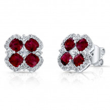 Kattan 18k White Gold High Quality Color Stud Earrings - LEFA34354