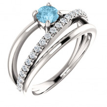 Stuller 14k White Gold Aquamarine Diamond Ring - 71919-600-P
