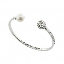Honora Sterling Silver White Round Ringed Freshwater Cultured Pearl Open Cuff Bangle Bracelet - LB5661WH